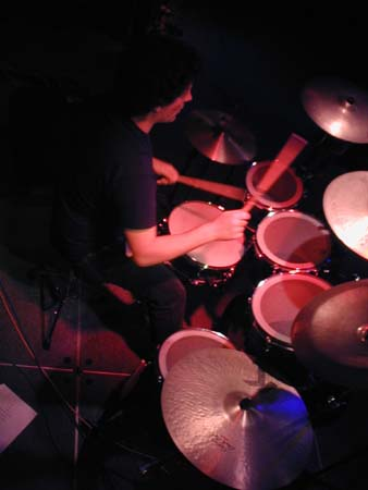 Kerry playing drums at video shoot in Emeryville. Shot taken from above